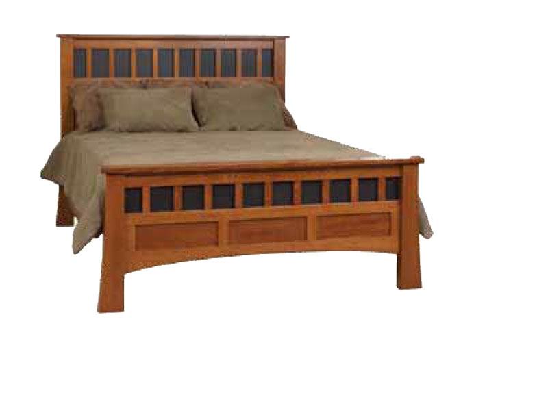 Bridgeport Antique Mission Bed in Queen Size - Bridgeport Antique Mission Bed - Ohio Hardwood Furniture