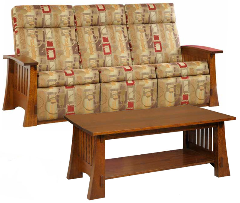 Craftsman Mission 88 Wallhugger Sofa Recliner in Fabric and Craftsman Mission 88 Coffee Table (Items sold separately)