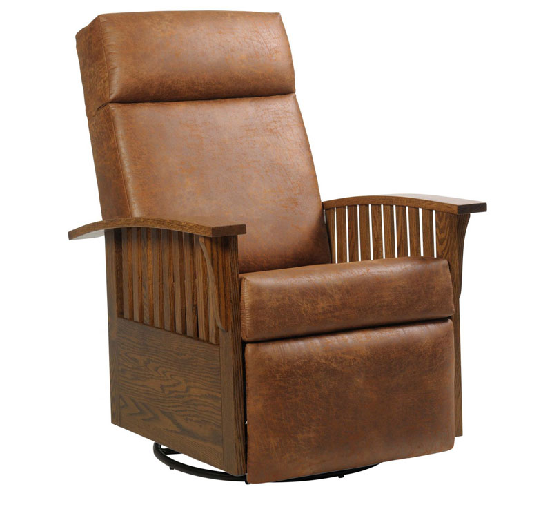 #83 Swivel Glider Recliner in Black Walnut and Leather