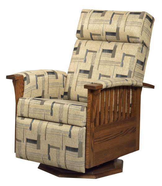 #83 Swivel Glider Recliner in Oak with an Optional Octagon Wood Base