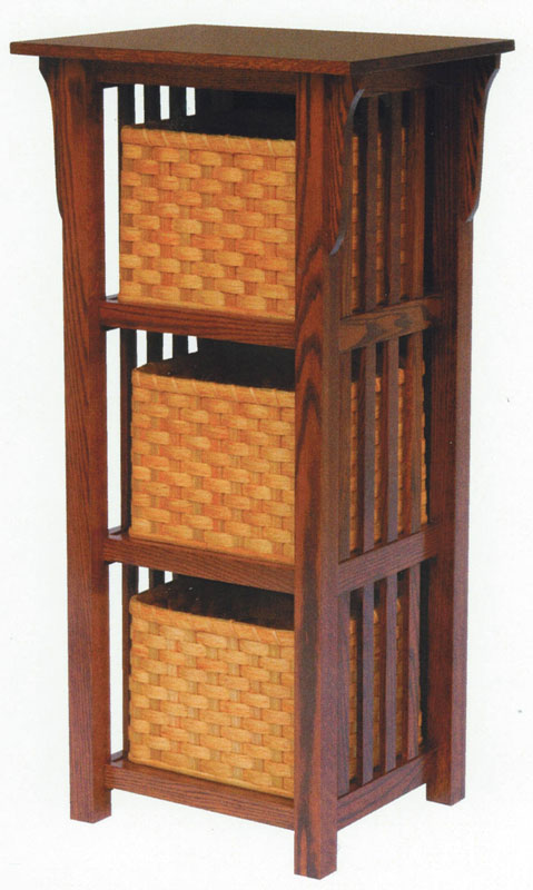3 Basket Upright Mission Shelf