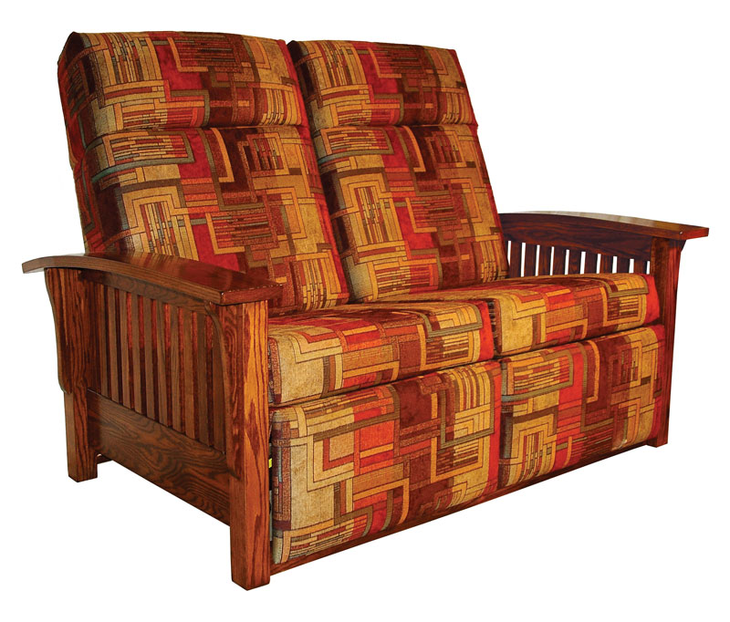 wall hugger mission double recliner loveseat with slat sides and fabric cushions