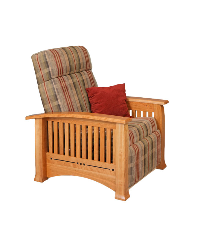 Modern Mission Wall Hugger Recliner In Cherry With Fabric Cushions