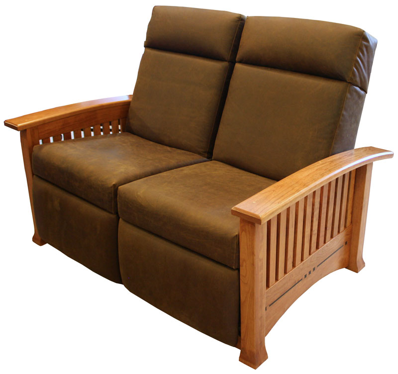 Modern Mission Double Recliner Loveseat Ohio Hardword Upholstered Furniture