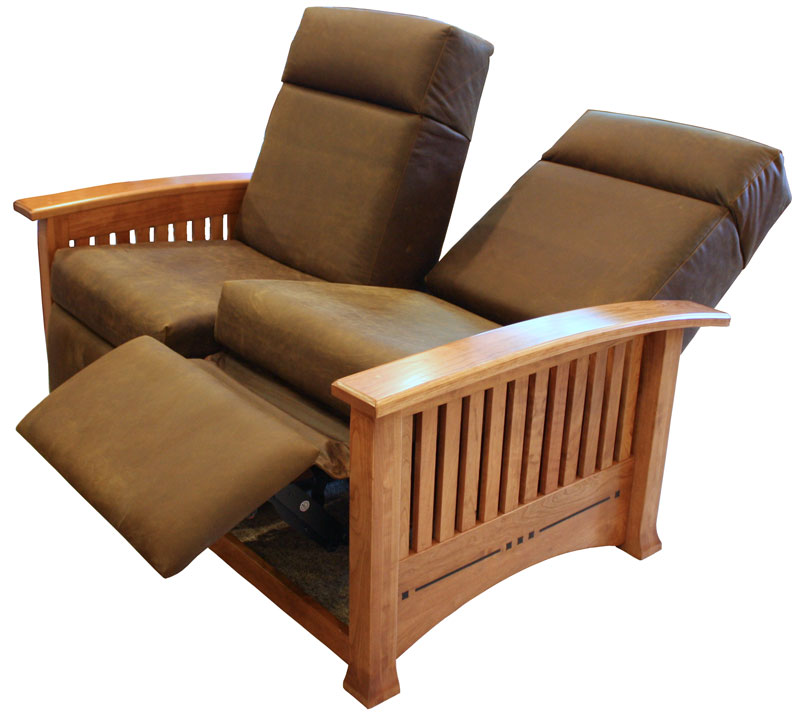 Modern Mission Double Recliner Loveseat in Leather with Optional Ebony Inlay in Reclining Position  sc 1 st  Ohio Hardwood Furniture & Modern Mission Double Recliner Loveseat - Ohio Hardword ... islam-shia.org