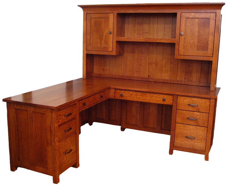 Mission L Desk And Hutches In Solid Hardwood Ohio