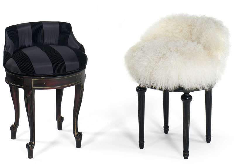 Rachel Vanity 80-V (image on left)  in Glamorous Ebony Fabric and Old World Finish and Cassie Vanity 81-V (image on right) in Zula Zebra Fabric and Black Matte Finish