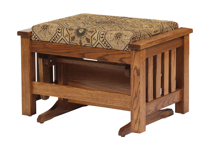 Mission Glider Ottoman in Red Oak and Fabric