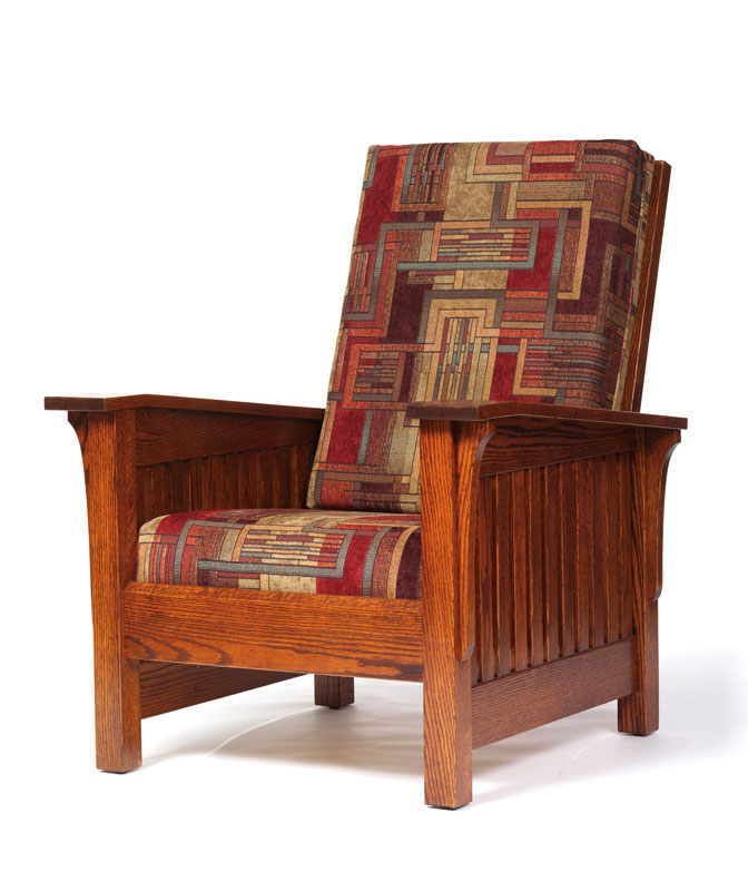 Mission High Back Chair In Red Oak With Fabric Cushions