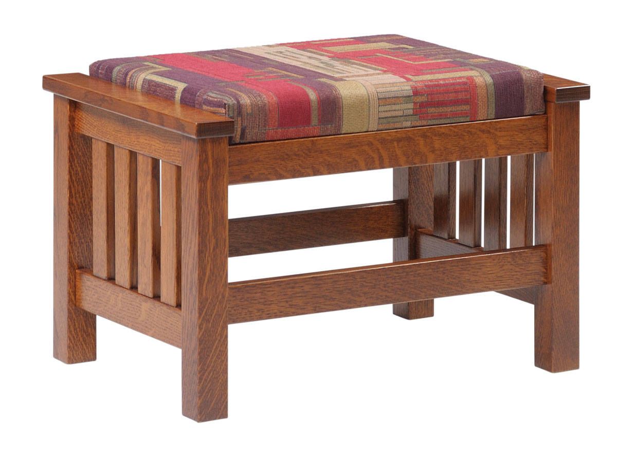 1800 Mission Ottoman in Quartersawn White Oak with Fabric