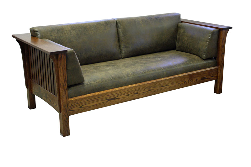 1875 Mission Sofa in Red Oak with a Michael's Cherry Stain and Hallagan Fabric 4678-26
