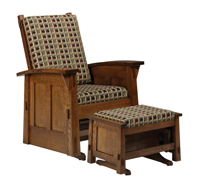 5600 Olde Shaker Glider Rocker and Glider Ottoman in Quartersawn White Oak (sold separately)