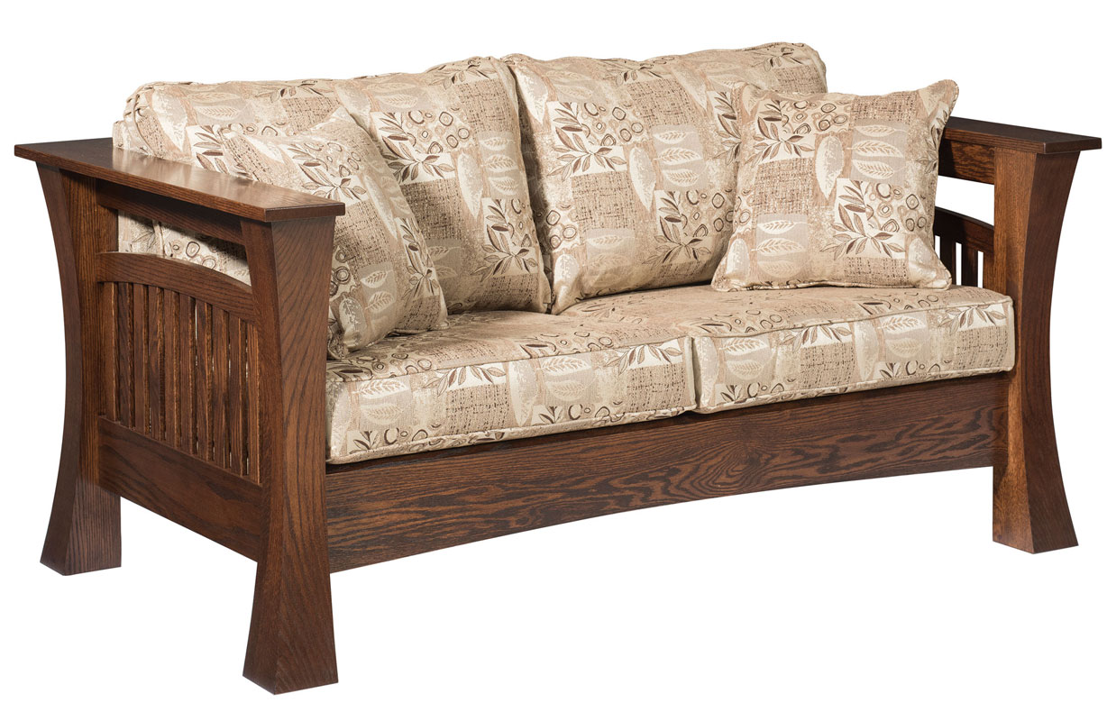 8500 Gateway Loveseat shown in Red Oak with Fabric and Optional Throw Pillows