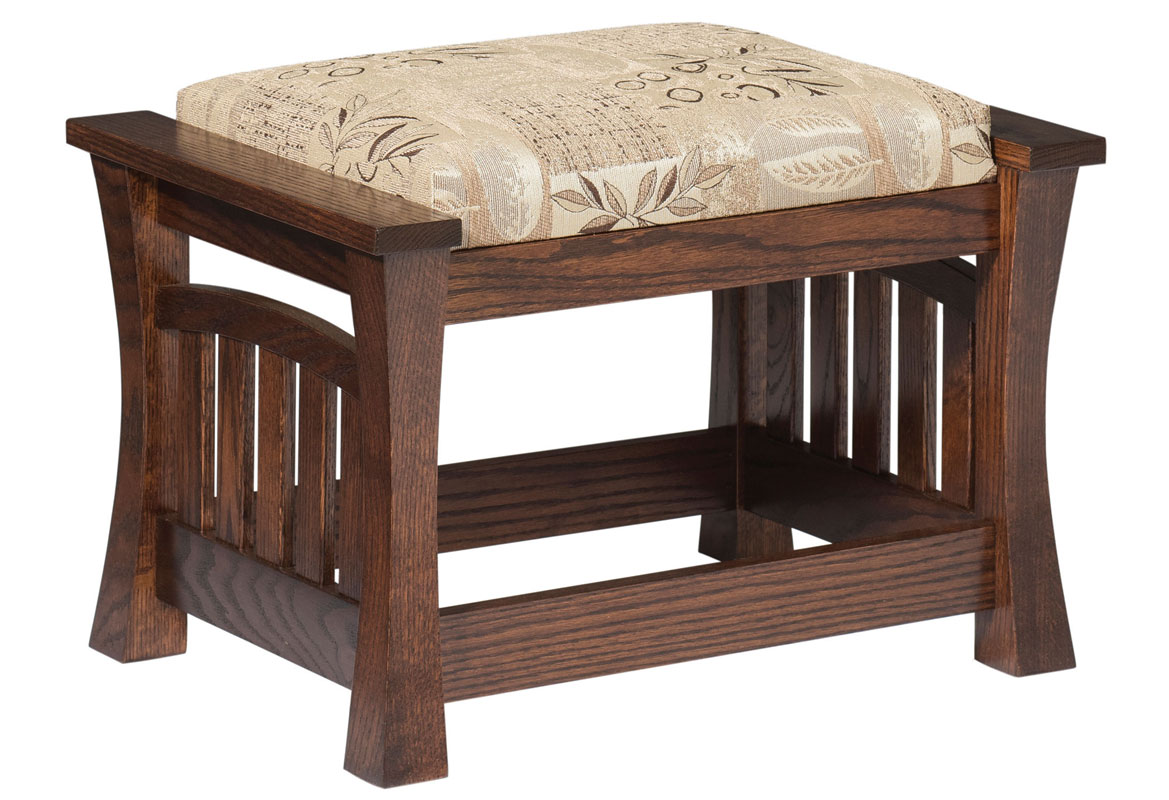 8500 Gateway Ottoman shown in Red Oak with Fabric and Optional Throw Pillows