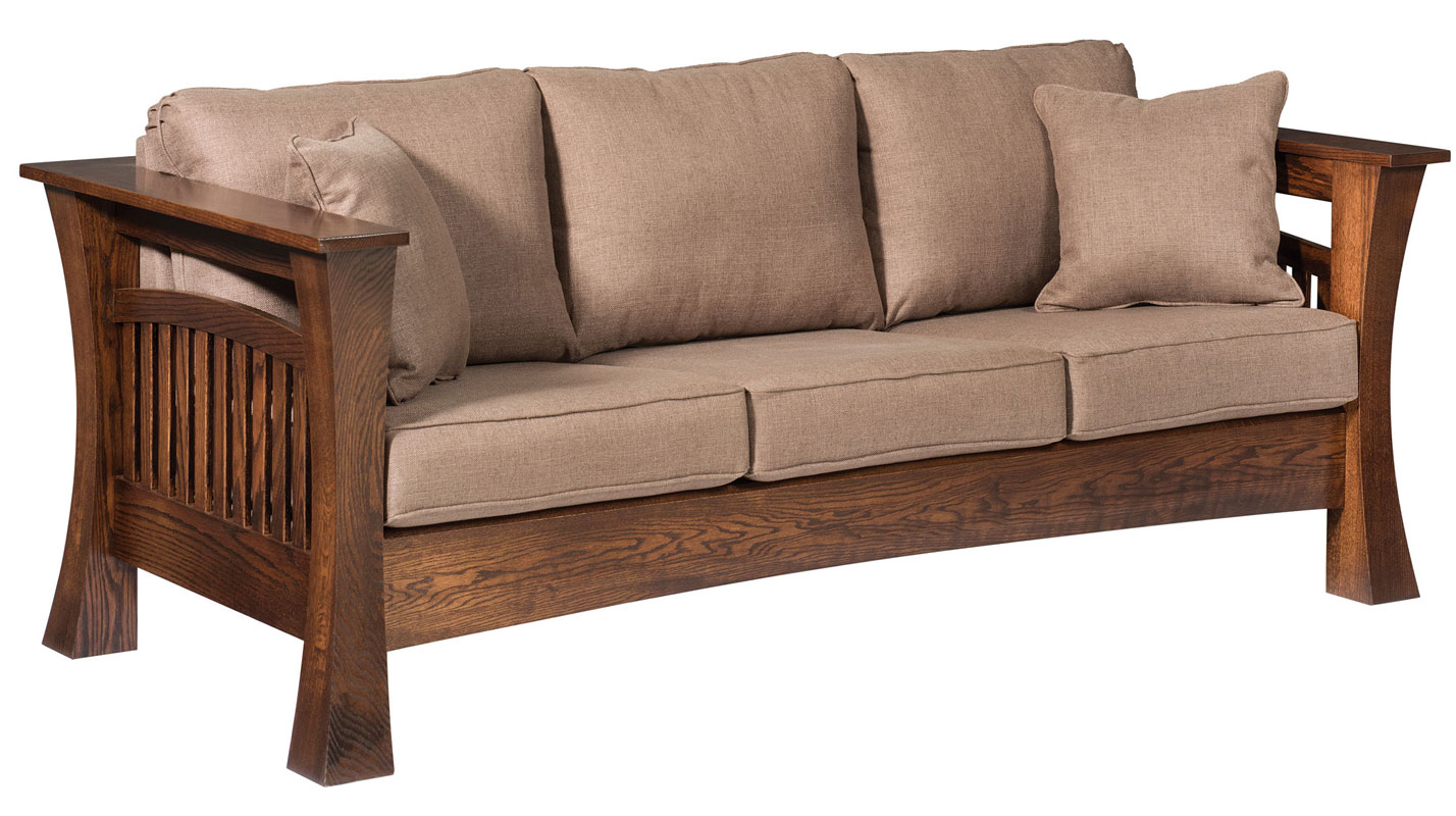 8500 Gateway Sofa shown in Red Oak with Fabric and Optional Throw Pillows