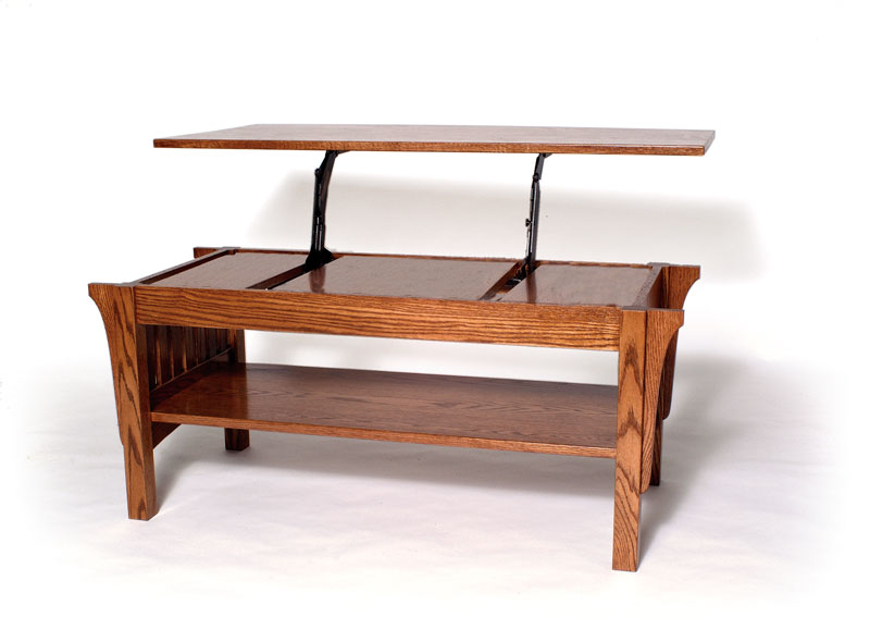 Misson Lift Top Coffee Table In Red Oak