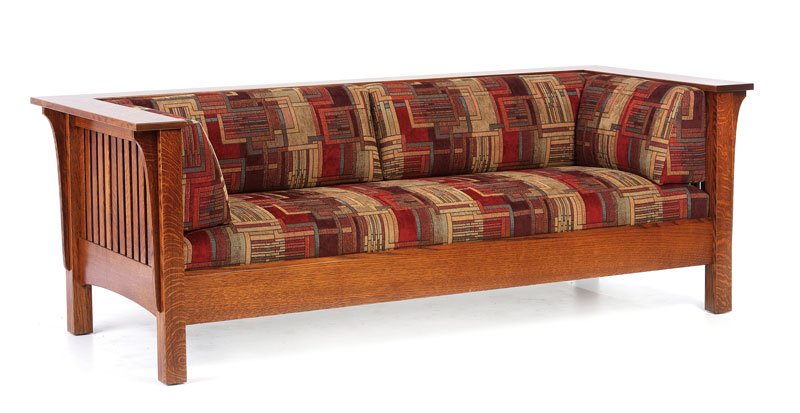 1800 Mission Sofa in Quartersawn White Oak with Fabric