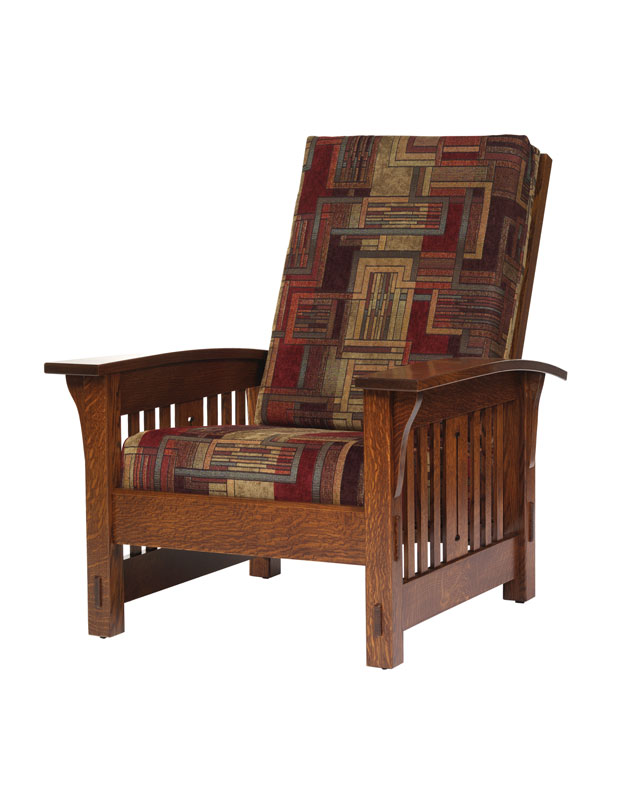 Morris Mission Slat Chair In Quartersawn White Oak With Fabric Cushions