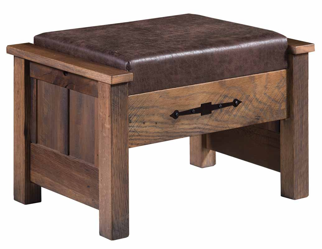 Kimbolton Ottoman With Optional Leather Shown In Reclaimed Wood