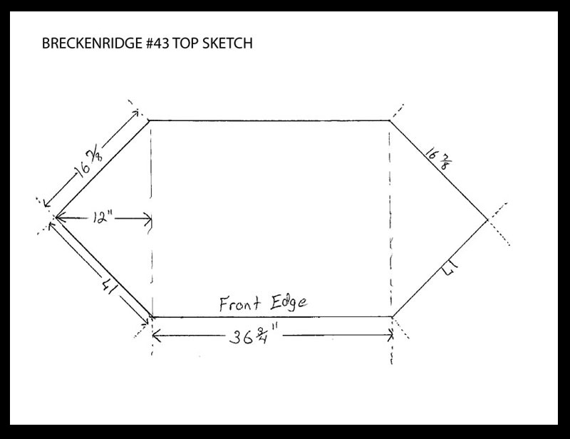 Breckenridge #43 Corner TV Stand - Top View Sketch