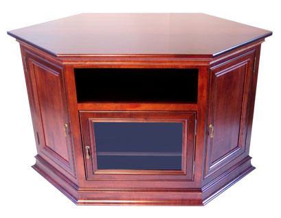 Breckenridge #35 Corner or Wall TV Stand in Brown Maple with Ace Cherry Stain