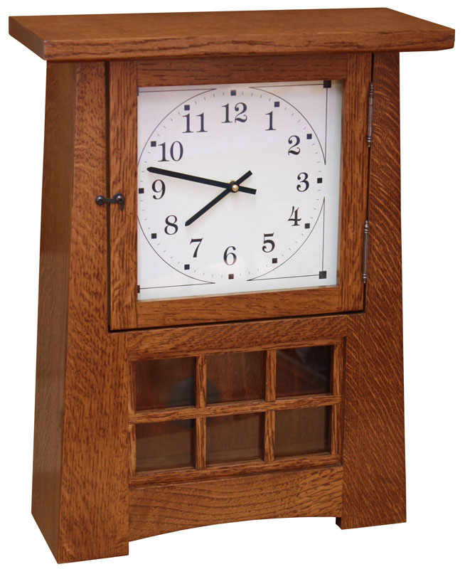 "18"" Arts and Crafts Pendulum Clock in Quartersawn White Oak with a Dark Asbury Brown Stain"