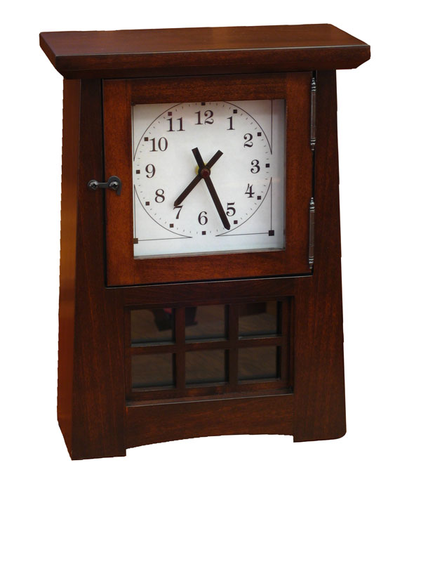 Arts and Crafts Pendulum Clock in Brown Maple