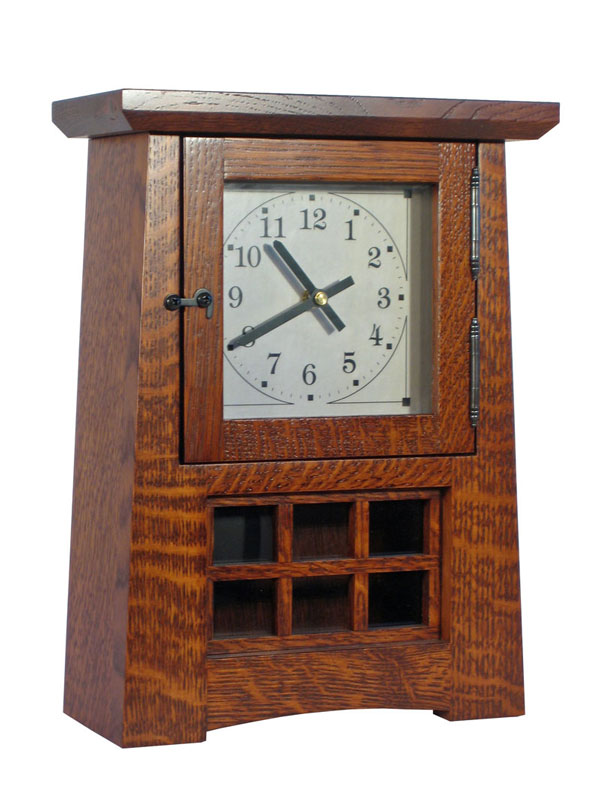arts and crafts pendulum clock in quatersawn white oak with cherry stain