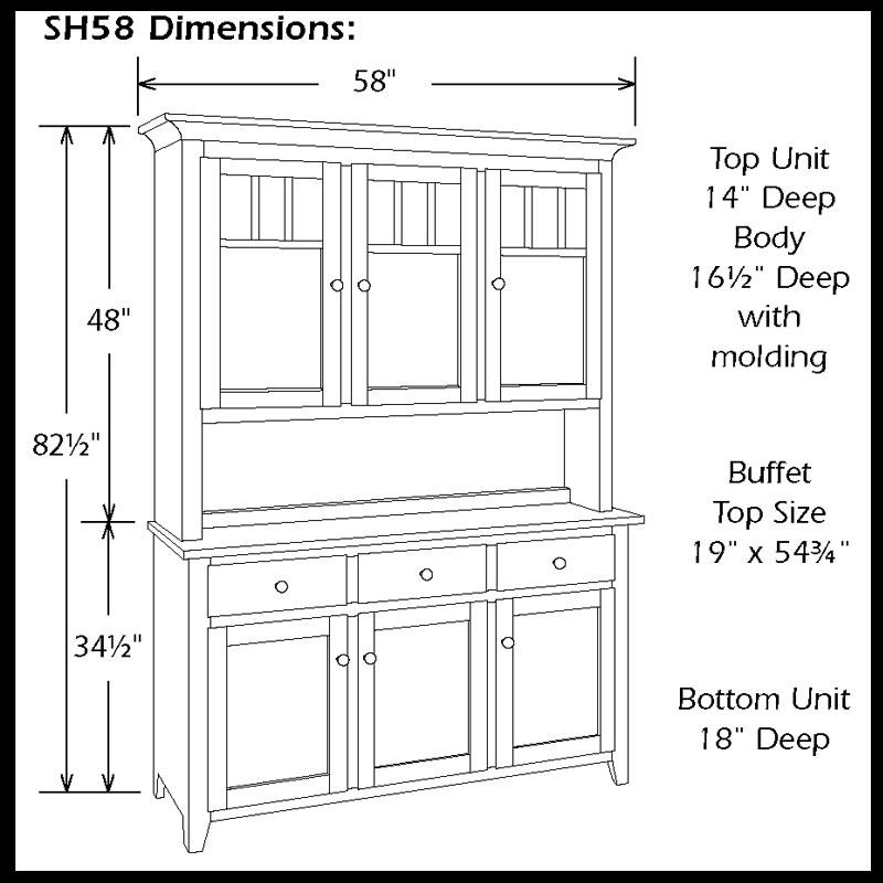 Shaker Impression Three Door Hutch Ohio Hardword Upholstered