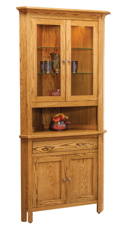 Centre Two Door Corner China Hutch (CE29LD) Shown With Optional Drawer