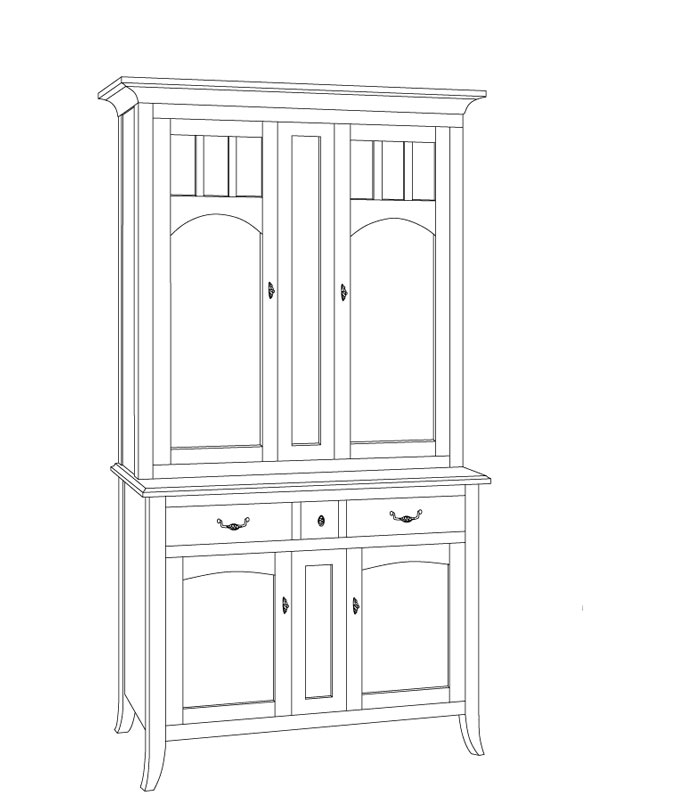 Old World Two Door China Hutch