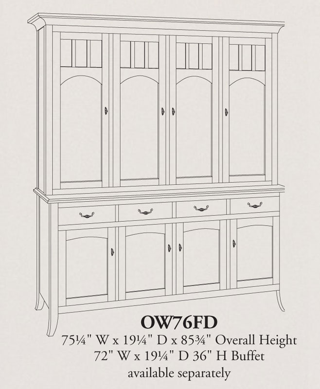 Old world four door china hutch ohio hardword for Dining room hutch dimensions