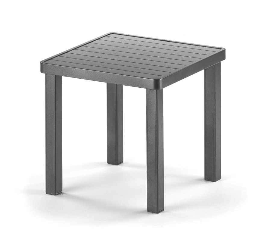 Telescope Casual 18 inch Square Aluminum Slat Top End Table