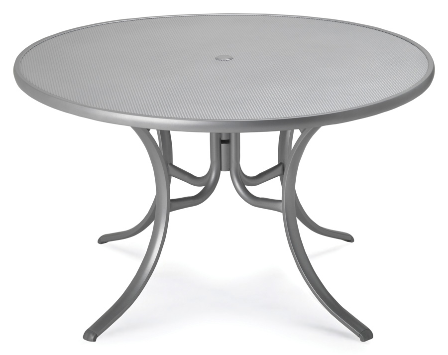 Telescope Casual 48 inch Round Embossed Aluminum Top Dining Table with Hole