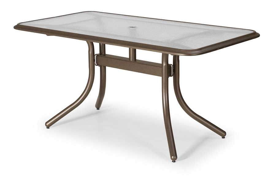 Telescope Casual 32 inch x 60 inch Rectangular Glass Top Table w/ Hole and Ogee Rim (base and table top sold separately)