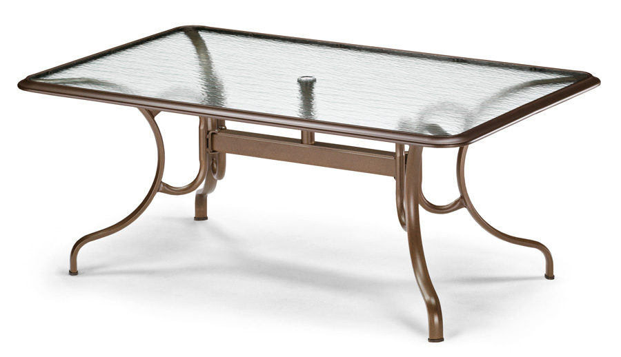 Telescope Casual 42 inch x 68 inch Rectangular Glass Top Dining Table w/Hole and Ogee Rim