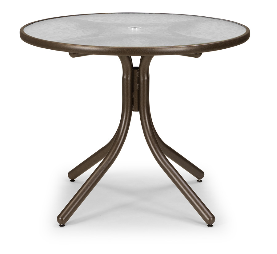 Telescope Casual 36 inch Round Dining Height Acrylic Top Table with Hole