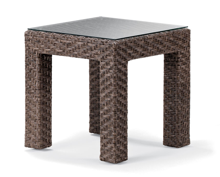 Telescope Casual 20 inch Square Value Wicker End Table with Tempered Glass Overlay
