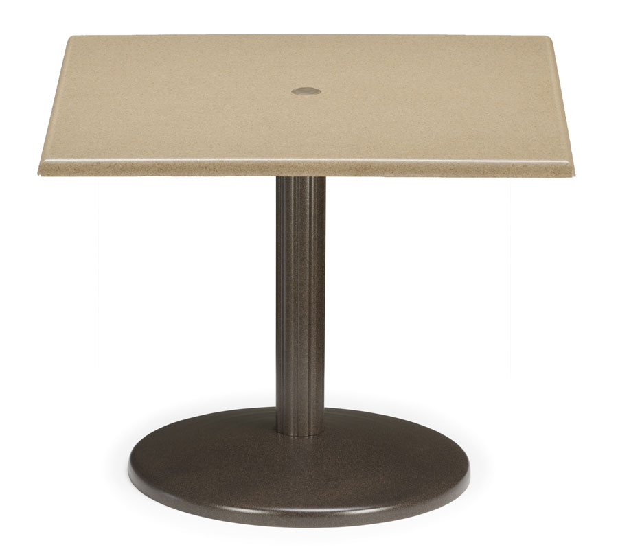 Telescope Casual 36 inch Square Werzalit Table Top  with Hole and Spun Pedestal Base
