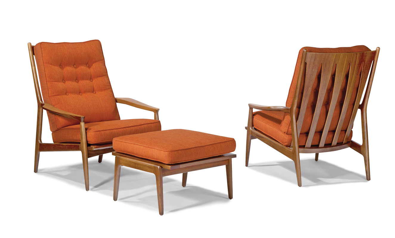 Thayer coggin 1266 103 archie lounge chair and 1266 000 ottoman by milo baughman
