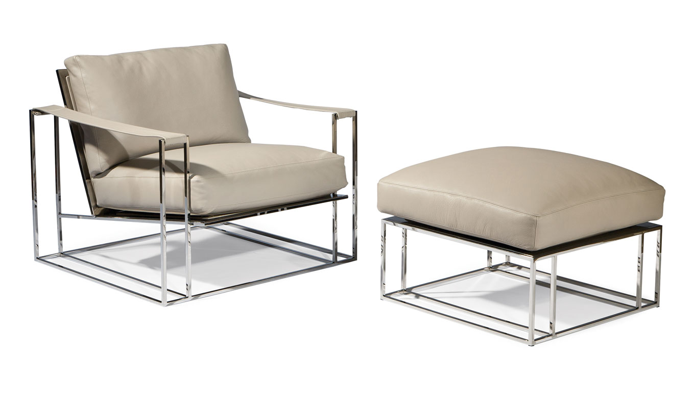 Thayer Coggin 1250 103 Sling Chair And 1250 000 Ottoman By Milo Baughman