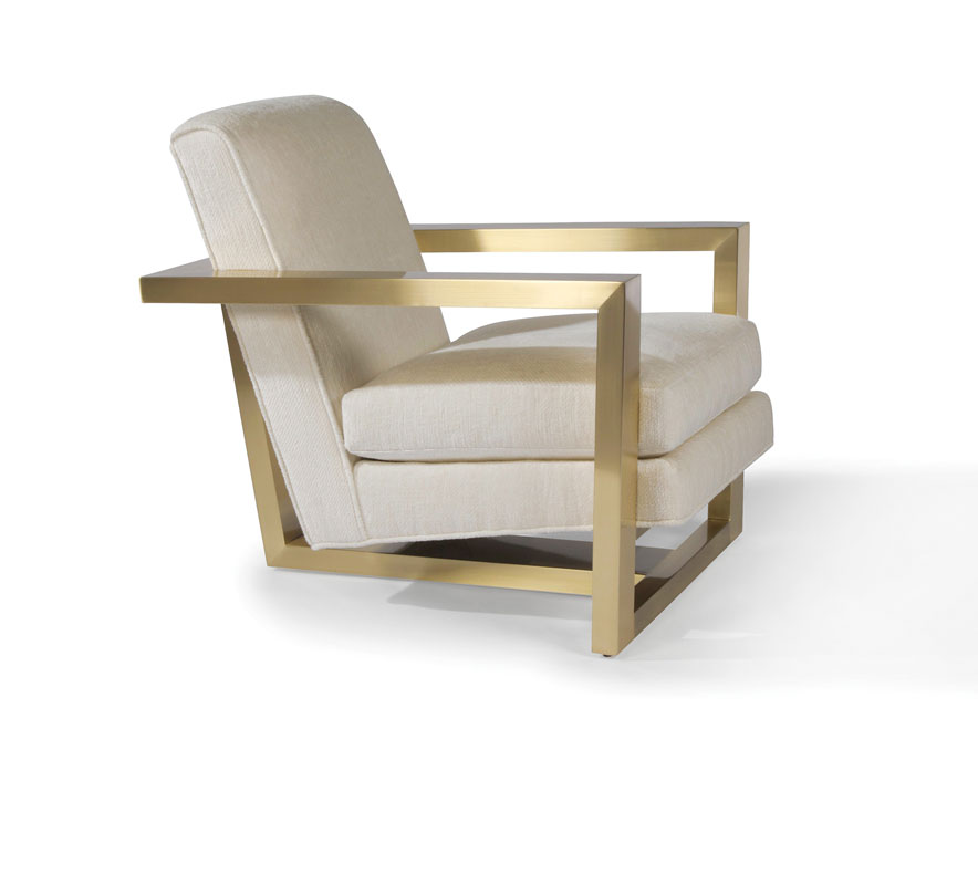 Thayer Coggin 1257-103-SB Hot Roger Lounge Chair in Satin Brass