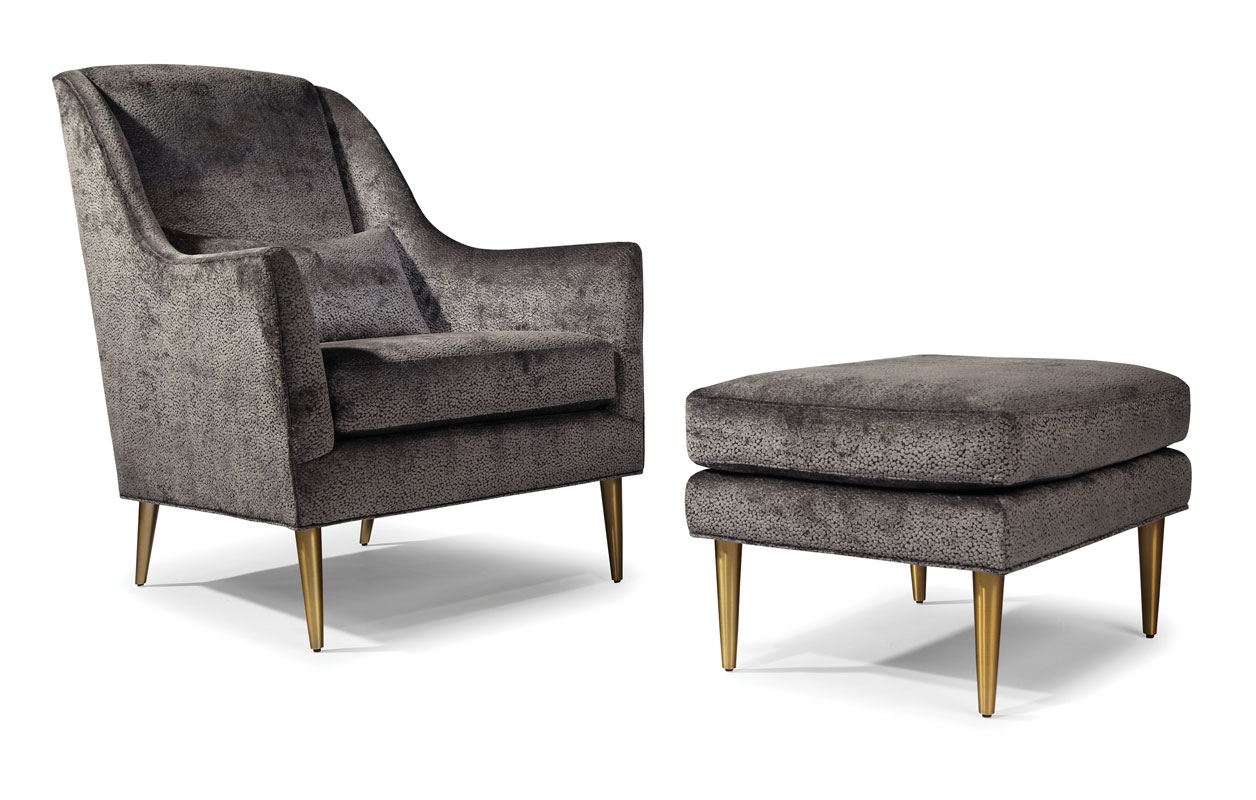 Thayer Coggin 1289-103 Jessica Chair and 1289-000 Ottoman by Milo Baughman