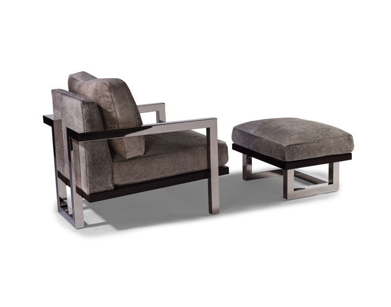 Thayer Coggin 1338-103 Lester Lounge Chair and 1338-000 Ottoman in Stainless Steel