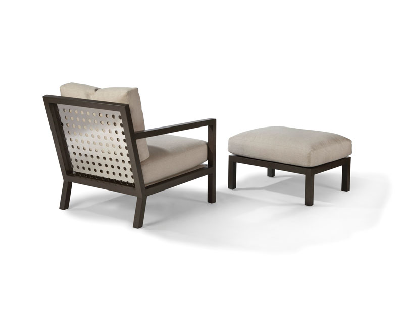 Thayer Coggin 1343-103-PS James Chair and 1343-000 Ottoman in Polished Stainless Steel