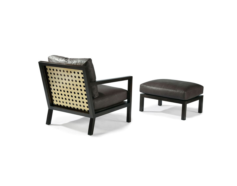 Thayer Coggin 1343-103-SB James Chair and 1343-000 Ottoman in Satin Brass