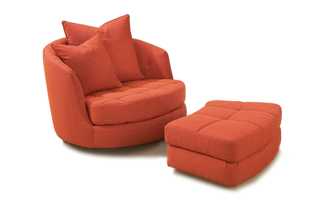 Thayer Coggin 956-103 Giant Swivel Tub Chair and 956-000 Ottoman by Milo Baughman