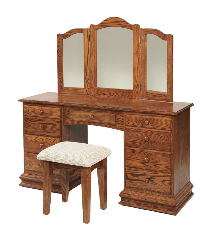 "56"" Clockbase Dressing Table with Trifold Mirror (stool sold separately)"