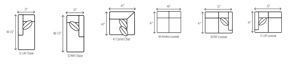 Wesley Hall 2070 Shreveport Sectional Components