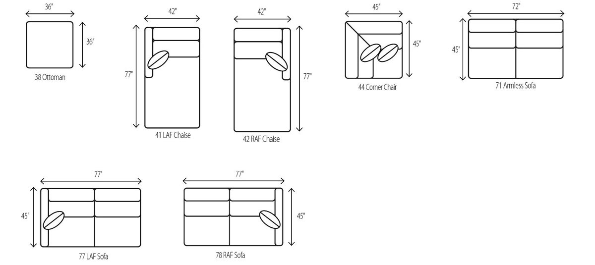Wesley Hall 2024 Lowell Sectional Dimensions